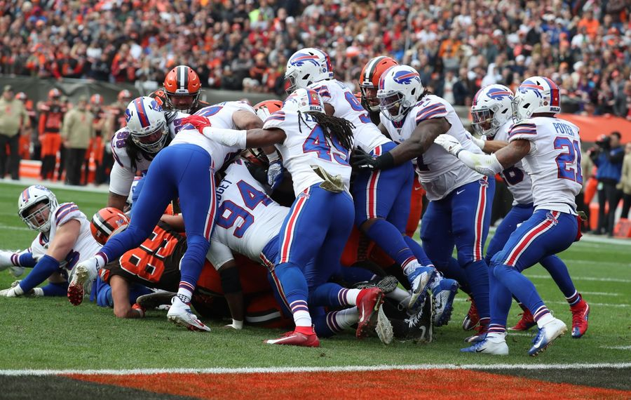Browns running back Nick Chubb is tackled as the Bills made a goal-line stand in the first quarter. (James P. McCoy/Buffalo News)