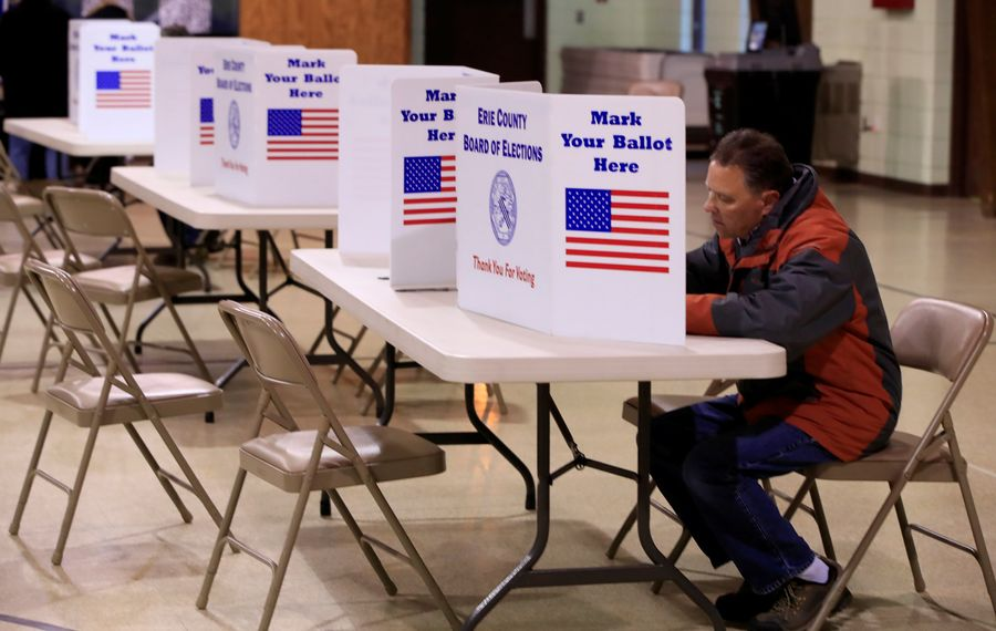 Election Day voting at St. Aloysius Parish Hall. (Harry Scull Jr./News file photo)