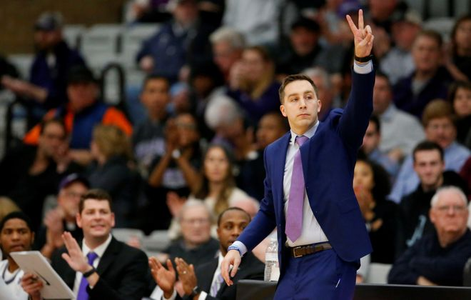 Niagara coach Greg Paulus against Bryant during the first half at the Gallagher Center on Monday, Nov. 18, 2019.  (Harry Scull Jr./Buffalo News)