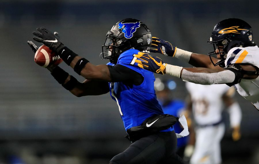 University at Buffalo receiver Antonio Nunn makes a catch against Toledo during the second half of a college football game at UB Stadium on Wednesday, Nov. 20, 2019.  (Harry Scull Jr./Buffalo News)