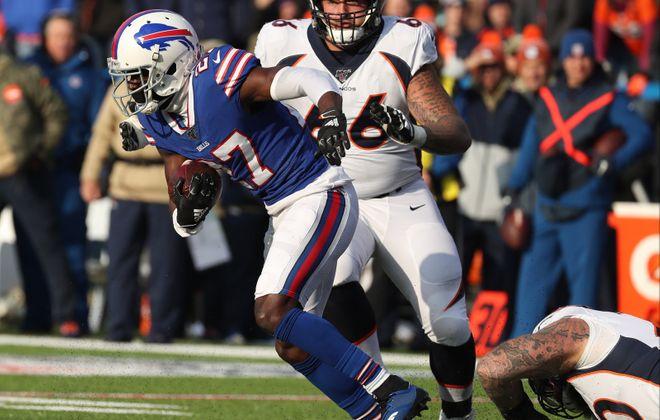 Bills cornerback Tre'Davious White (27) intercepts the ball in the second quarter against Denver (James P. McCoy/Buffalo News file photo)