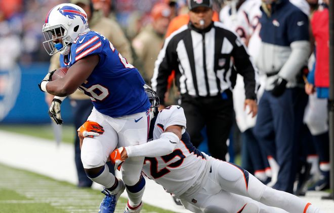 Devin Singletary led a dominant rushing attack for the Buffalo Bills on Sunday against the Denver Broncos at New Era Field. (Mark Mulville/Buffalo News)