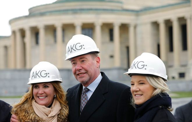 From left, Barbara Van Every, Jeffrey Gundlach and Alice Jacobs, board president, at the groundbreaking for the AK360 campus expansion at the Albright-Knox Art Gallery. (Derek Gee/Buffalo News)