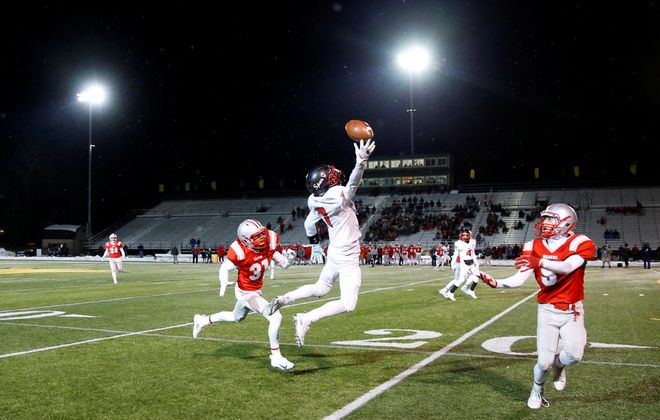 South Park receiver Andre Augustiniak goes airborne trying to make a catch for the Sparks during last November's state quarterfinal game against Canandaigua at SUNY College at Brockport. (Harry Scull Jr./Buffalo News)