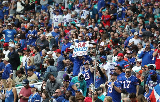 Bills fans dominated the crowd at Hard Rock Stadium in Miami on Sunday, Nov. 17, 2019. (James P. McCoy/Buffalo News)