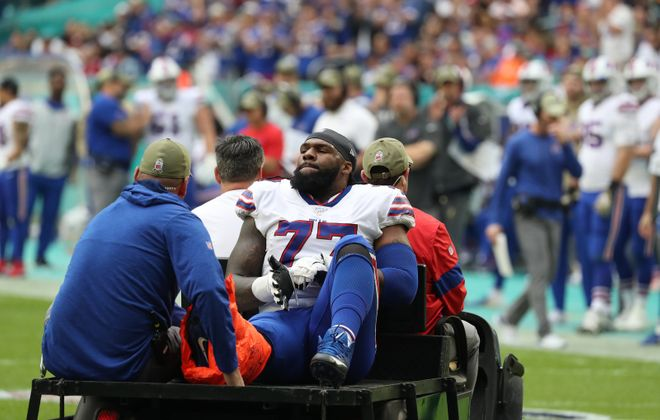 Bills offensive tackle Ty Nsekhe was carted off the field after injuring his ankle in the third quarter in Week 11. (James P. McCoy/Buffalo News)