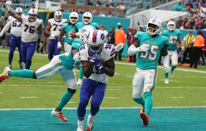 Bills wide receiver John Brown catches a pass for a touchdown over Dolphins cornerback Jomal Wiltz in the third quarter at Hard Rock Stadium on Sunday, Nov. 17, 2019. (James P. McCoy/Buffalo News)