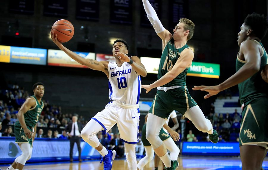University at Buffalo player Ronaldo Segu drives to the basket against William & Mary during the first half of a college basketball game at Alumni Arena on Saturday, Nov. 30, 2019.  (Harry Scull Jr./Buffalo News)
