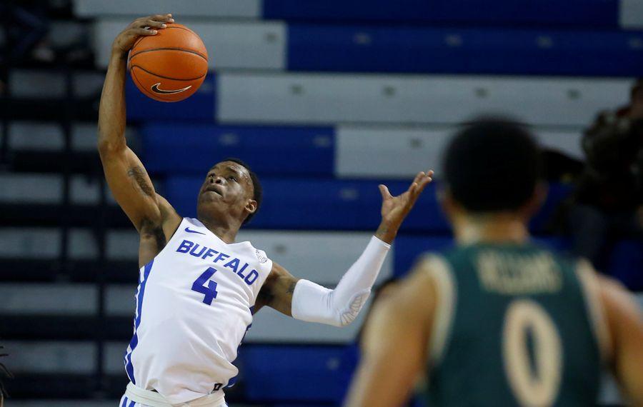 University at Buffalo player Davonta Jordan grabs a rebound against William & Mary at Alumni Arena on Saturday, Nov. 30, 2019. (Harry Scull Jr./Buffalo News)