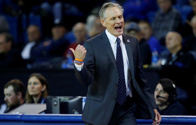 University at Buffalo coach Jim Whitesell gestures to his bench during second half action against William & Mary at Alumni Arena on Saturday, Nov. 30, 2019.  (Harry Scull Jr./Buffalo News)