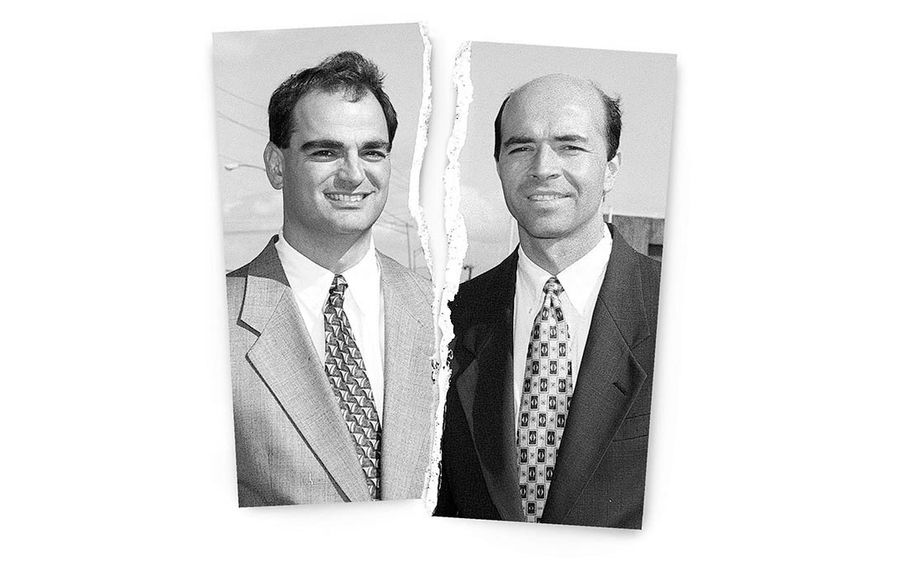 Ross Cellino, left, and Steve Barnes have been smiling down on Buffalo expressway commuters for two decades. (News file photos/illustration)