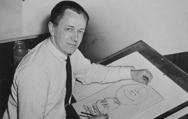 Charles M. Schulz in 1955 (Photo by Roger Higgins, New York World Telegram staff photographer)