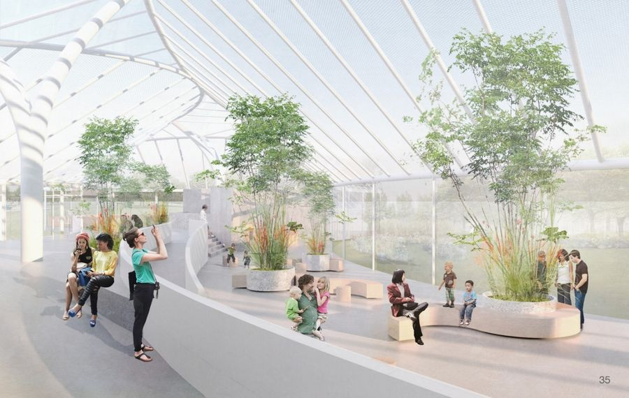 A large glass building is planned for the southwest side of the Botanical Gardens as part of a planned expansion. (Rendering courtesy of the Buffalo & Erie County Botanical Gardens)