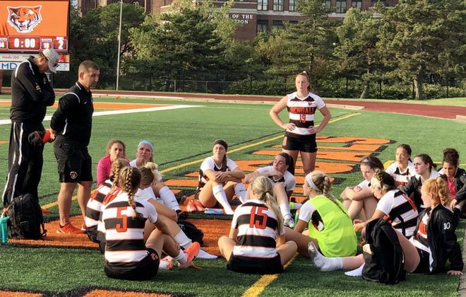 The Buffalo State women's soccer team earlier this year. Coach Nicholas DeMarsh is second from left. (Ben Tsujimoto/Buffalo News)