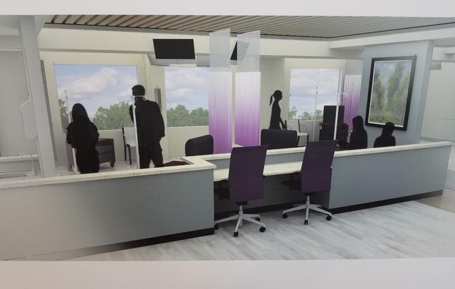 Artist's rendering of the interior of the Golisano Medical Oncology Center, to open at Niagara Falls Memorial Medical Center in April 2020. (Image courtesy of Niagara Falls Memorial Medical Center)