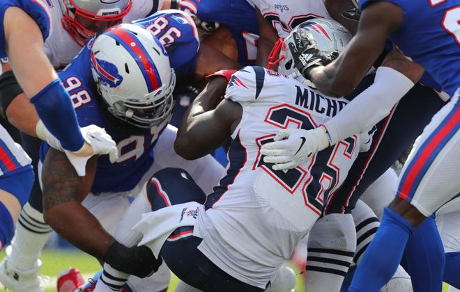 Bills defensive tackle Star Lotulelei (98) is at the center of the team's run defense. (Getty Images)