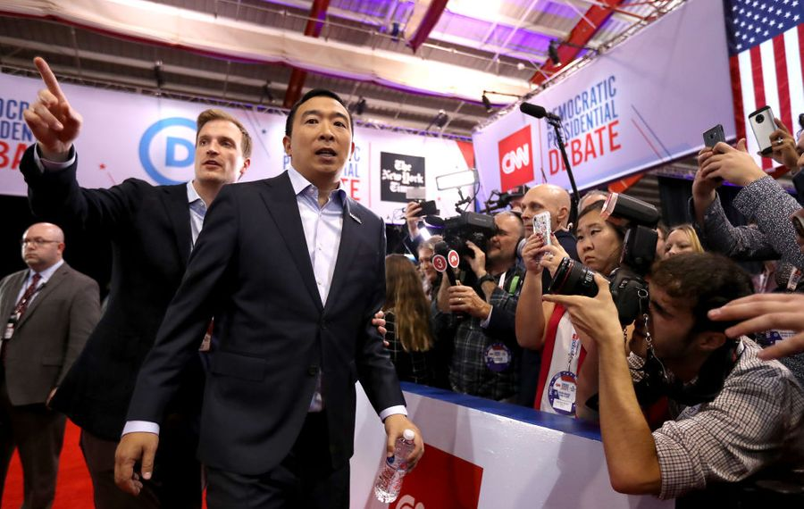 Former tech executive Andrew Yang and his campaign manager, Zach Graumann. (Getty Images)