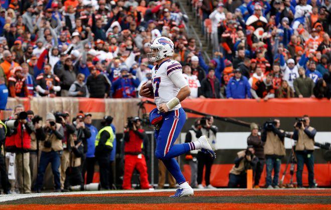 Bills quarterback Josh Allen  scores a touchdown during the second quarter. (Getty Images)