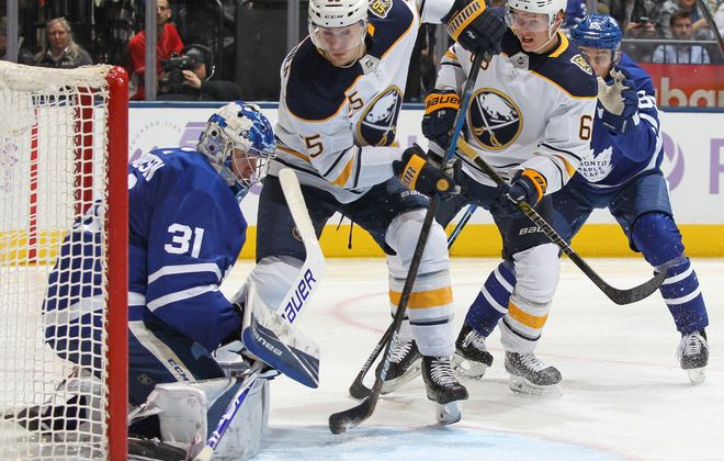 Rasmus Ristolainen (55) scores the Sabres' lone goal in their 2-1 overtime loss Nov. 30 at Toronto. (Getty Images)