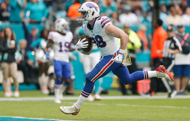 Rookie tight end Dawson Knox showed plenty of promise in 2019. (Getty Images)