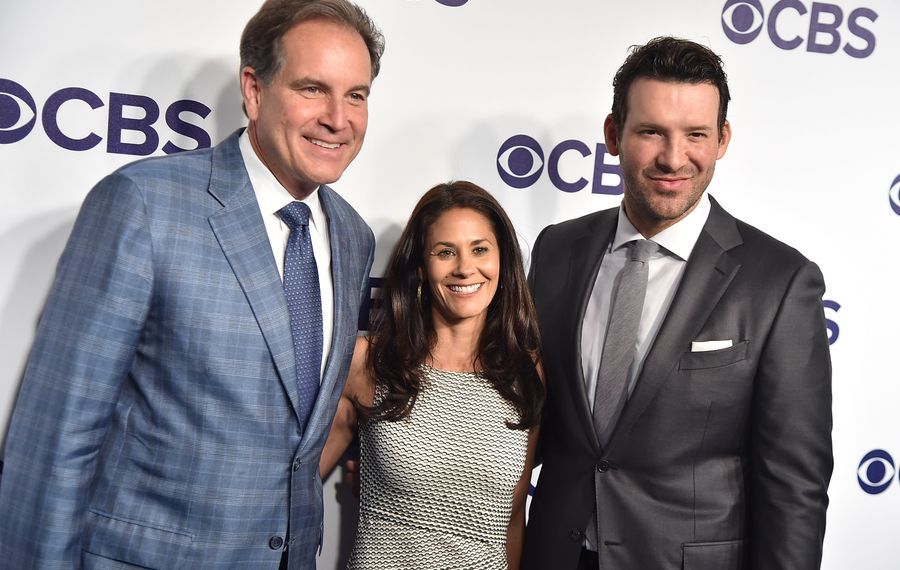 CBS' No. 1 announcing team Jim Nantz, Tracy Wolfson and Tony Romo are on the Thanksgiving game of Buffalo Bills playing the Dallas Cowboys in Dallas.  (Photo by Theo Wargo/Getty Images)