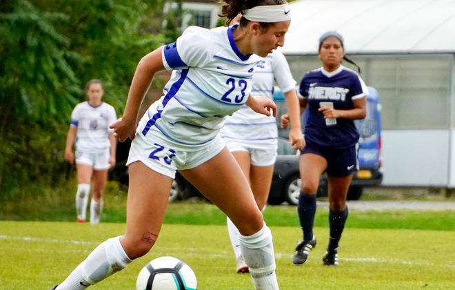 Jamie Boyar and the Daemen womens soccer team fell to St. Rose in the NCAA Division II East Regionals on Friday.  (Ben Tsujimoto/Buffalo News)