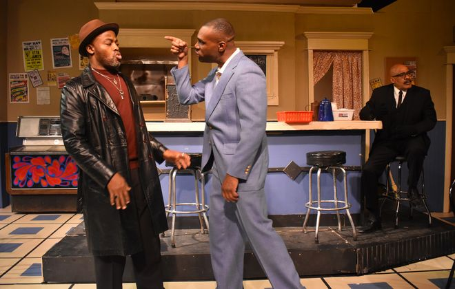 """A scene from Paul Robeson Theatre's """"Two Trains Running."""" (Photo via K.E.G.)"""