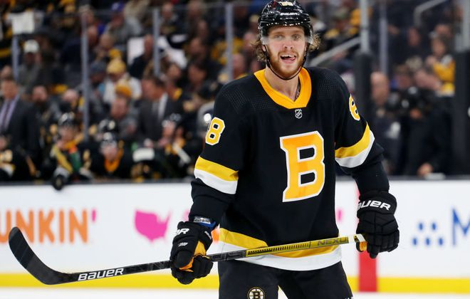 David Pastrnak of the Bruins has 24 goals in his first 26 games this season. (Getty Images)