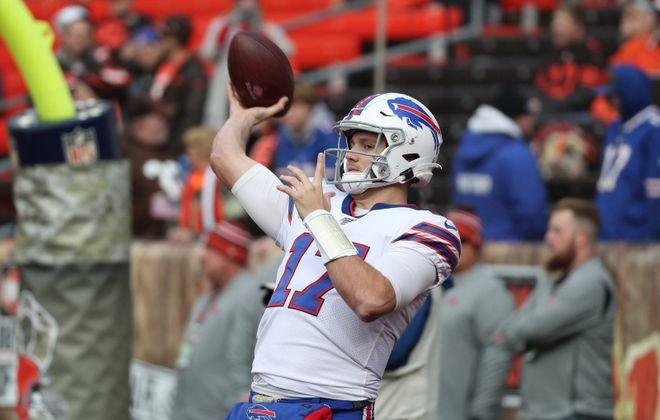 Bills quarterback Josh Allen throws a pass during pregame warmups at FirstEnergy Stadium in Cleveland. (James P. McCoy/Buffalo News)