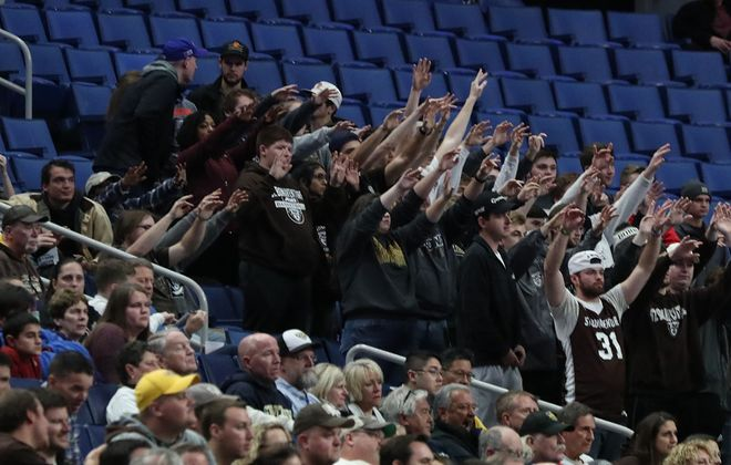 College basketball fans cheer at the St. Bonaventure-Canisius game Saturday at KeyBank Center. (James P. McCoy/Buffalo News)