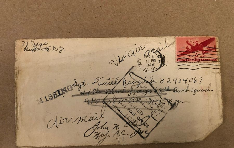 The leter Daniel Joyce's mother sent to her brother, his uncle, Daniel Kraynik, which he never received. (Courtesy of Daniel Joyce)