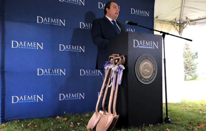 Amherst Supervisor Brian J. Kulpa, speaks last year outside Daemen College where, for once, he did not have PowerPoint slides in his presentation. (Stephen T. Watson/Buffalo News)
