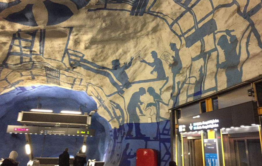 At work or at play, the citizens of Stockholm depicted at T-Centralan Station (All photos by Mike Harrington/Buffalo News).
