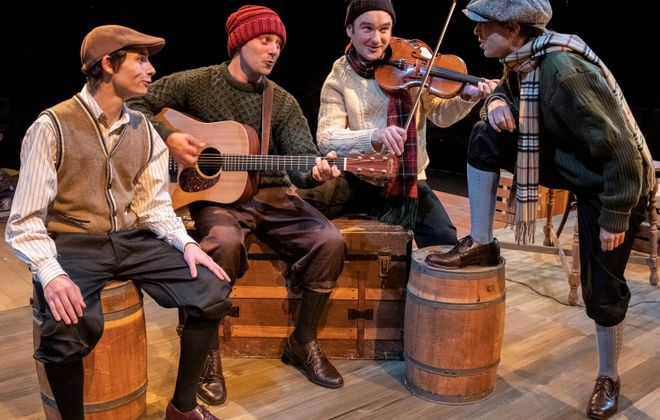 """""""A Child's Christmas in Wales"""" is presented by Irish Classical Theatre Company. Pictured are Tyler Eisenmann as Young Dylan, Brandon Barry, Music Director Joseph Donohue III and Nicole Cimato. (Photo courtesy of Gene Witkowski)"""