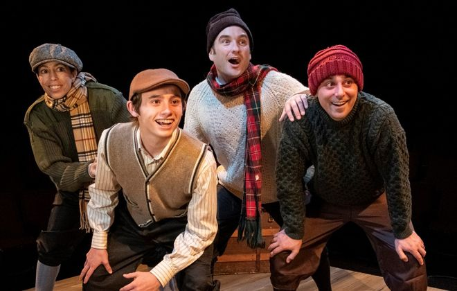 """""""A Child's Christmas in Wales"""" at Irish Classic Theatre Company stars, from left, Nicole Cimato as Jack, Tyler Eisenmann as young Dylan Thomas, Joseph Donohue III as Jim and Brandon Barry as Tom. (Photo by Gene Witkowski)"""