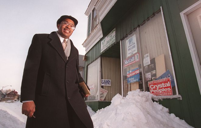 Maurice Garner, a longtime ally of Buffalo Mayor Byron Brown, poses outside of the Grassroots political club's office in 1999. (News file photo)