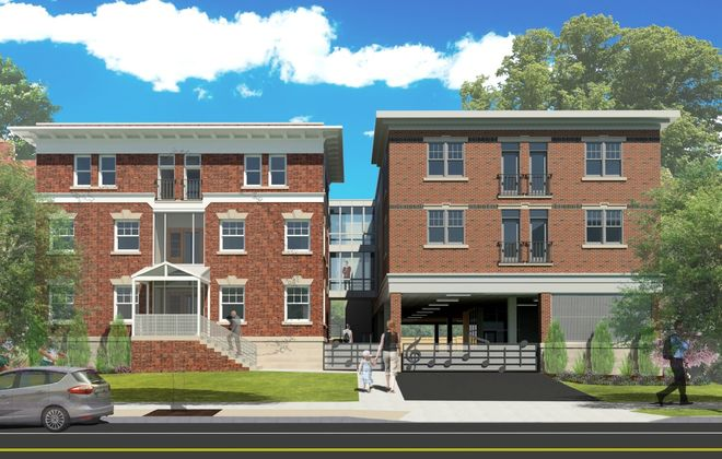 A rendering of the proposed Musical Suites apartment building, as seen from Elmwood Avenue. (Image courtesy of Schneider Development)