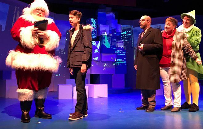 "The entire cast of ""Elf"" at MusicalFare Theatre entertains including  Nicholas Lama (Santa), left, Johnny Kiener, Louis Colaiacovo, Jennifer Mysliwy and Chris J. Handley. (Photo courtesy of Doug Weyand)"