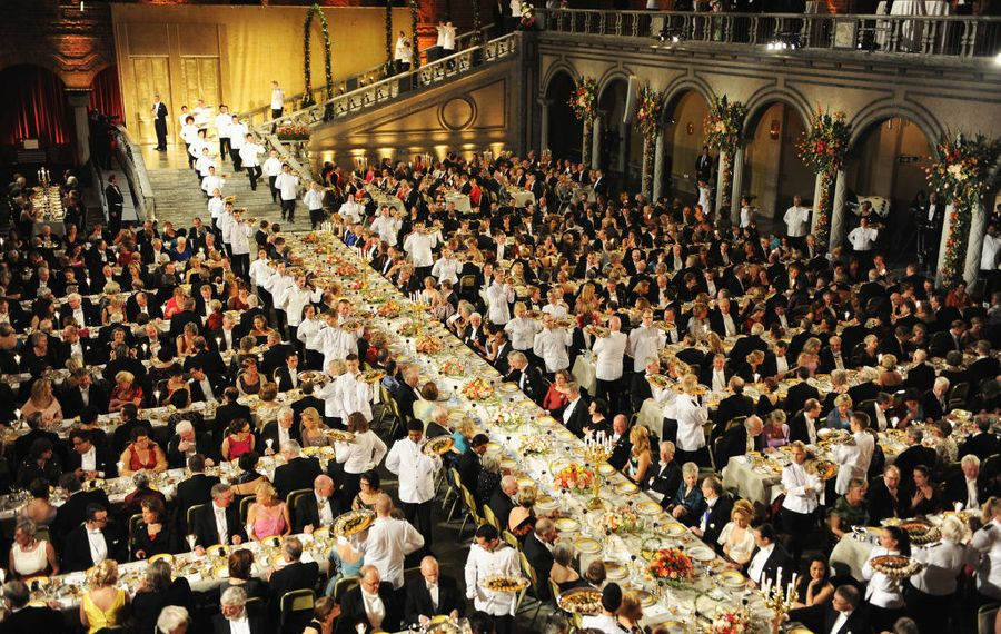 A general view during the Nobel Foundation Prize Banquet at Stockholm City Hall, with the famous grand staircase at the top of the photo (Getty Images).