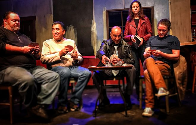 """Travelers caught in a snowstorm – played by John F. Kennedy, left, Victor Morales, Monish  Bhattacharyya, Suzie Hibbard and Timothy  Coseglia – get to know each other in """"The Kindness of Strangers"""" presented by the Navigation Theatre Company. (Photo courtesy of Compass Performing Arts Center)"""