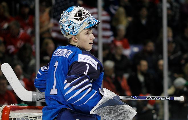 Ukko-Pekka Luukkonen of Finland looks up ice after allowing a goal versus the USA at the IIHF World Junior Championships on Dec. 31, 2018. (Kevin Light/Getty Images)