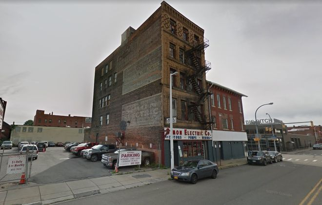 The Simon Electric Co. property, totaling 1.78 acres in downtown Buffalo, is up for sale. (Google)