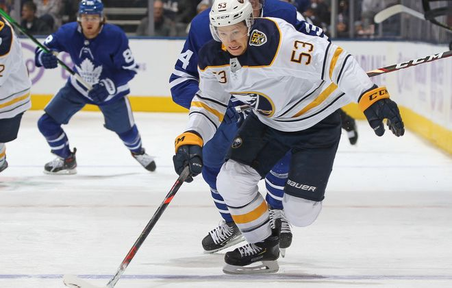 Jeff Skinner works the puck up the ice Saturday in Scotiabank Arena. (Getty Images)