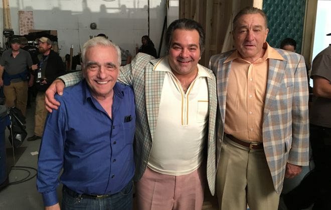 "Buffalo-born actor Patrick Gallo, center, is pictured with director Martin Scorsese and Robert De Niro on the set of ""The Irishman."""