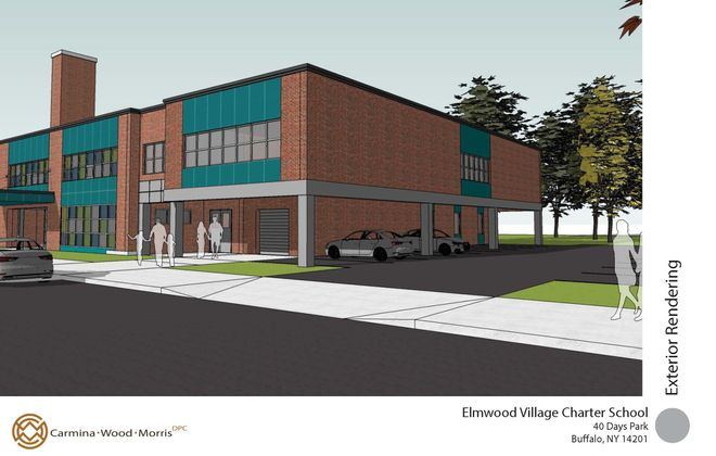 A rendering of the Elmwood Village Charter School addition. (Courtesy of Carmina Wood Morris PC)