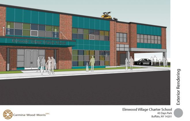 A rendering of the Elmwood Village Charter School addition. (Image courtesy of Carmina Wood Morris PC)