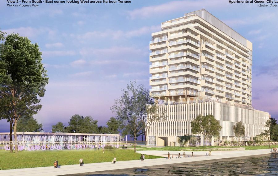 A rendering of the revised Queen City Landing project, from the water. (Courtesy of Queen City Landing)