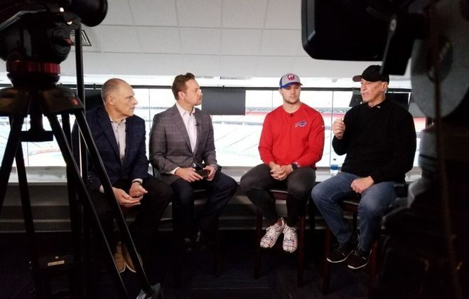 Jim Kelly, right, and Josh Allen take part in a joint interview with The News' Vic Carucci and WGRZ's Adam Benigni.