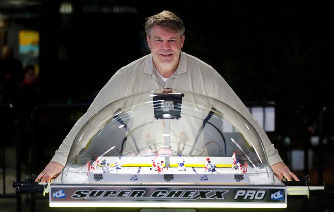 Greg Scoma, a Buffalo native who is founder and president of the World Table Hockey Association, brings a major tournament to RiverWorks this weekend. (Mark Mulville/Buffalo News)
