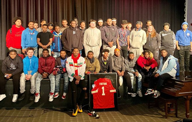 South Park High School graduate Jody Fortson Jr. visits with students at his alma mater. He spoke to them about his journey to the Kansas City Chiefs practice squad on Friday, Nov. 22, 2019. (Jonah Bronstein/Buffalo News)